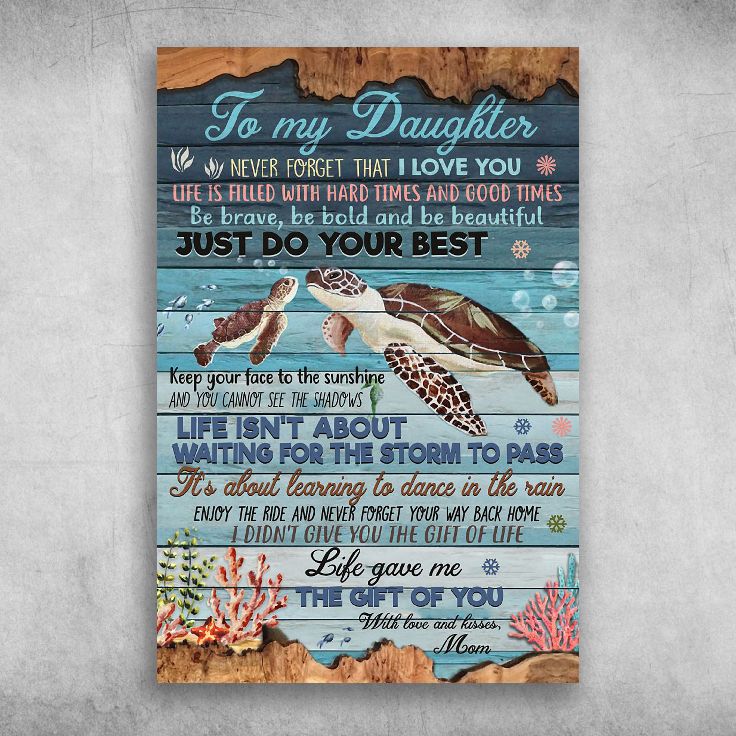 Download To My Daughter Never Forget That I Love You Turtle Canvas ...