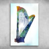 And Tears Are Heard WithinThe Harp I Touch Blue Harp Art Print