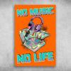 No Music No Life Funky Colorful Turntable Headphones Graffiti Arrows