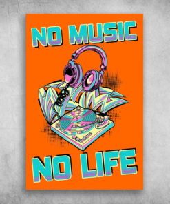 No Music No Life Funky Colorful Turntable Headphones Graffiti Arrows