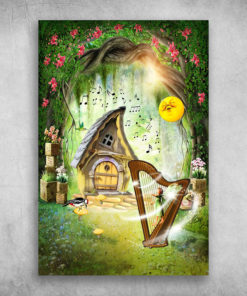 Beautiful Fairy Tale Forest Harp And Angel