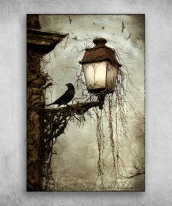 Black Bird And A Lamp Horror Halloween Landscape