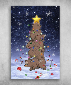 Brown Bear Christmas Tree Merry Xmas