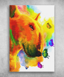 Bull Terrier Beautiful Colorful Unicorn And Butterfly
