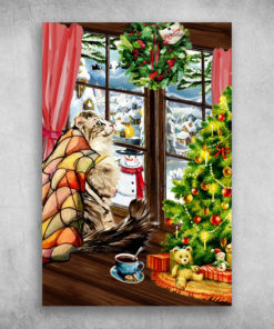 Cat Looks Out The Window On Christmas Day