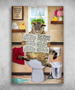 Cat Reading Newspaper On The Toilet