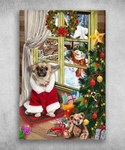 Chihuahua Dog And Teddy Bear Brown Bear On Christmas Day
