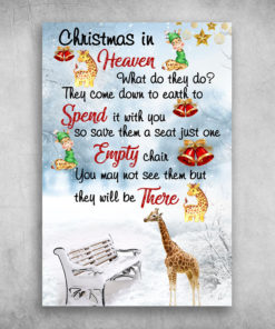 Giraffe Christmas In Heaven Spend It With You