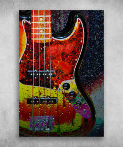 The Beautiful Colorful Painting Guitar