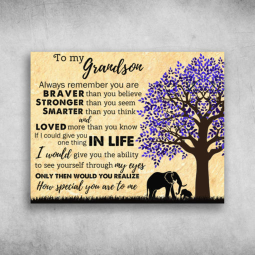 To My Grandson Always Remember You Are Loved More Than You Know Elephant
