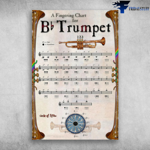 A Fingering Chart For Bb Trumpet Musical Instrument