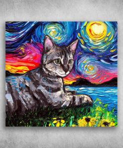 Black Cat Art Starry Night Tabby Tiger Gray Cat