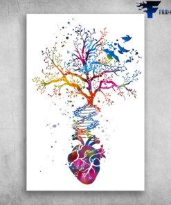 Anatomy Of Human Heart DNA Tree Colorful Heart