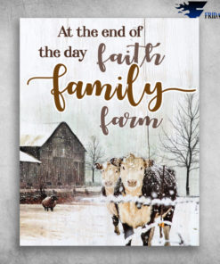 At The End Of The Day Faith Family Farm Cow On Snowy Day