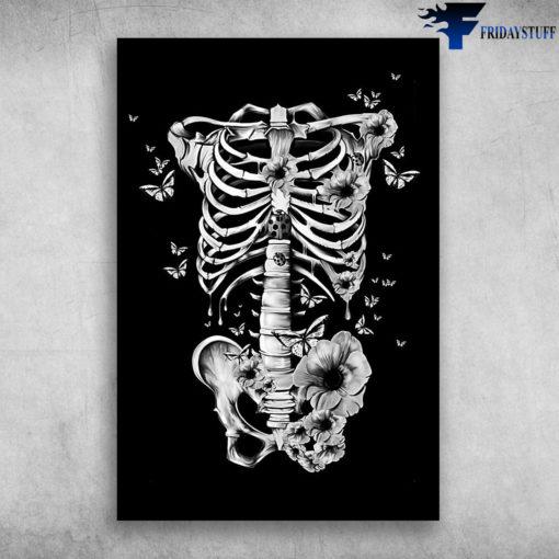 Beautiful Butterfly Flower Human Skeleton Anatomy