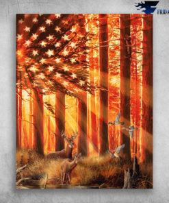 Deer Sunshine American Flag Hunting Deer And Duck