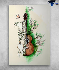 Art Guitar Instrument With Human Skeleton And Green Tree Guitarists United