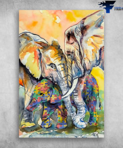 Elephant Family Paintings Elephant Family Art Autism Awareness