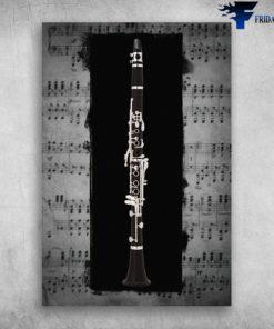 Clarinet Musical Instrument Clarinet Instrument On Sheet Music Background