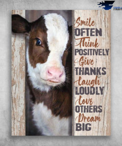 Cute Dairy Cattle Smile Often Think Positively Give Thanks Laugh Loudly
