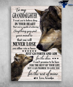 Mama Wolf And Baby Wolf To My Granddaughter You Will Never Lose Love Grandpa