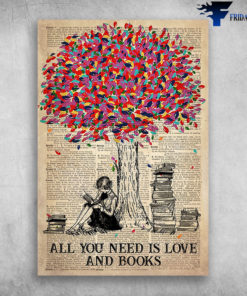 All You Need Is Love And Books Beautiful Girl Read Books Near Colorful Tree
