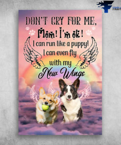 Angel Dogs Don't Cry For Me Mom I'm Ok I Can Run Like A Puppy I Can Even Fly With My New Wings