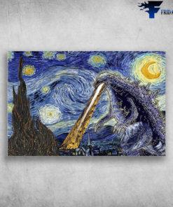 Starry Night With Godzilla Van Gogh