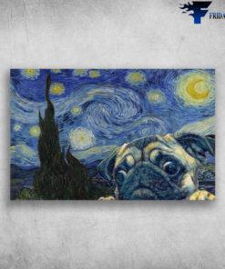 Starry Night With Pug Dog Van Gogh