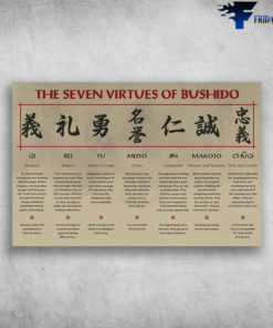 The Seven Virtues Of Bushido Samurai Gi Rei Yu Meiyo Jin Makoto Chugi