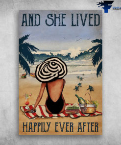 And She Lived Happily Ever After - Girl And Beach, Wine, Book