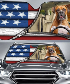 Funny Boxer Dog And American Flag Driving Car