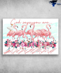 God Says You Are Unique Special Lovely Precious - Flamingo And Duck