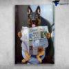 Becgie Dog Reading Newspaper In Toilet
