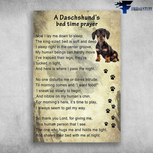 A Daschshund's Bed Time Prayer - Now I Lay Me Down To Sleep, The King-sized Bed Is Soft And Deep