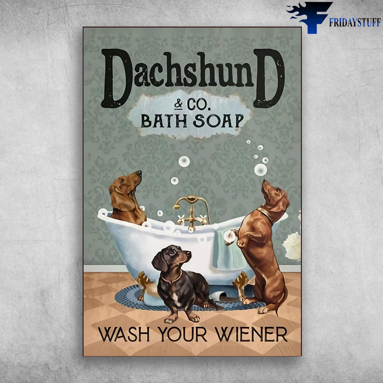 bath soap bath tub longhaired dachshund clawfoot wash your wiener long dog bath bath art bubbles CANVAS
