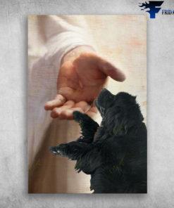 God Hand Wirh Newfoundland Dog