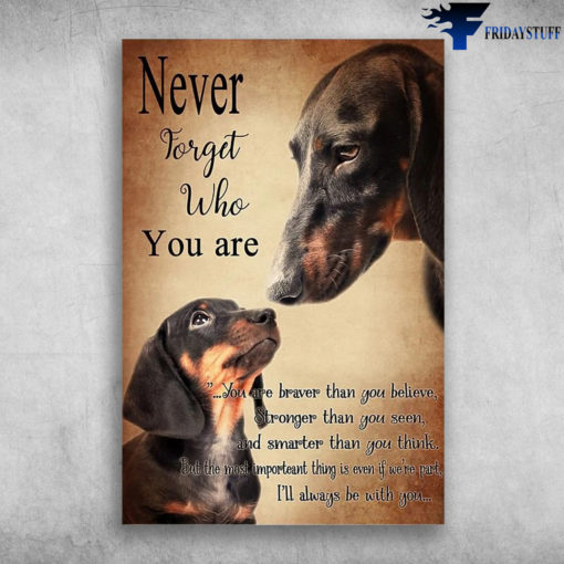 Dachshund Dog - Never Forget Who You Are, You Are Braver Than You Believe, Stronger Than You Seen, And Smarter Than You Think, But The Most Important Thing Is Even If We're Part, I'll Aways Be With You