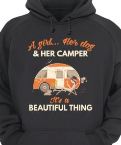 A girl her dog and her camper it's a beautiful thing