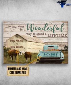 Barn and Truck, Couple Kissing Cows, Loving you is a wonderful way, to spend a lifetime, Gift for couple Farm, Farmer, Farmhouse Wall Art Decor