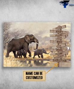 Elephant Family, Mom, Son, Daughter