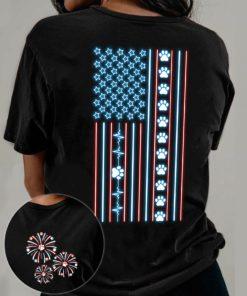 America flag - Dog lover, dog footprint