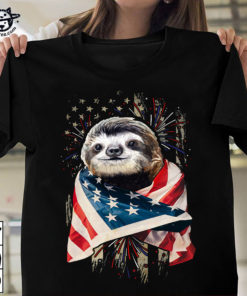 Sloth and America flag - The independence day, sloth lover
