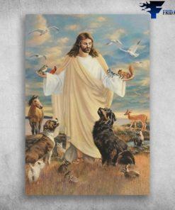 God Loves Animals - Cardinal Bird, Dog, Horse, Deer, Rabbit