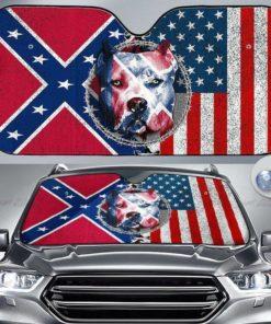 American Bulldog, Norway America Flag, Dog Auto Sun Shade