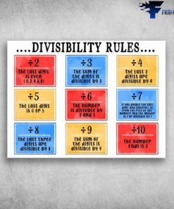 Back To School - Dicisibility Rules, The Last Digit Is Even, The Sum Of Digits Is Divisible By 3, The Last Digit Is 0 Or 5, The Number Ends Is 0