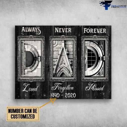 Gift For Dad, Always Loved, Never Forgetten, Forever Missed
