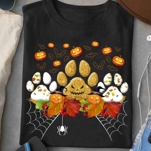 Scary halloween T-shirt - Halloween gift for dog person, dog footprint costume